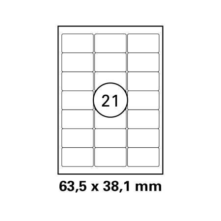 2100 Universal Drucker-Etiketten 70x41 Weiß permanent 100 Bogen A4 HEISAP 12