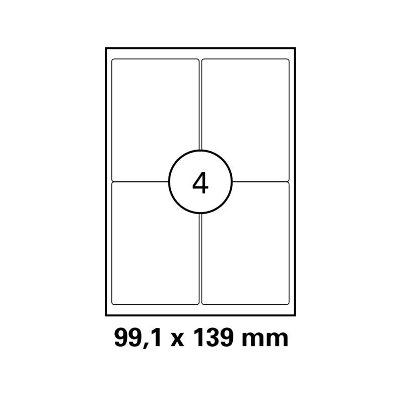 400 DRUCKER ETIKETTEN 99,1x139,0mm Drucker Label Aufkleber weiß selbstklebend